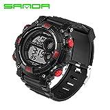 Delight eShop SANDA Waterproof Date Week Silicone Digital Analog Alarm Mens Sport Wrist Watch (Black&Red)