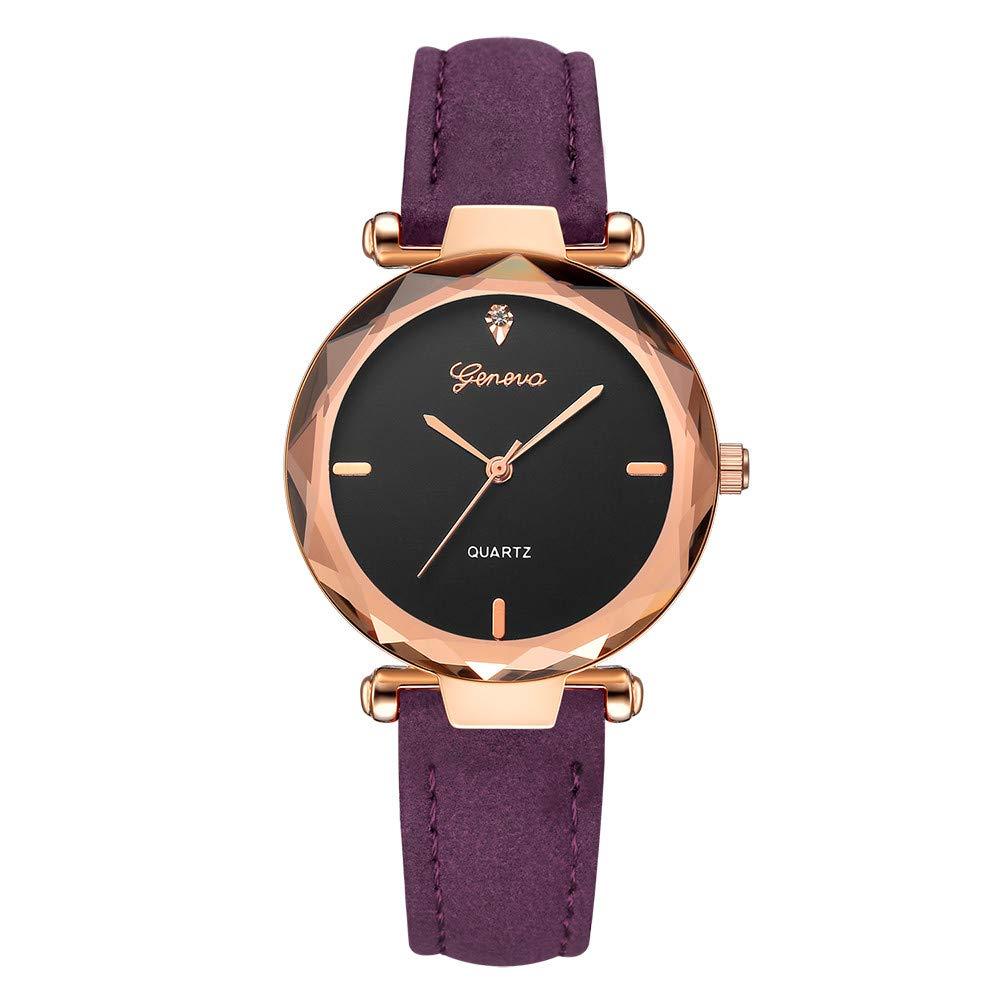 Women's Watch, Thing-ning Fashion Women 's Leather Band Geneva Analog Quartz Diamond Wrist Watch Watches Love Knot Bracelet Gift (Purple)