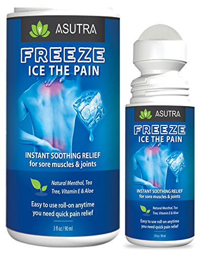 ASUTRA Freeze Ice The Pain Relief Gel, 3 oz. Arnica Roll On, Instant Relief for Sore Muscles & Joints, Easy to Use Pain Roll On