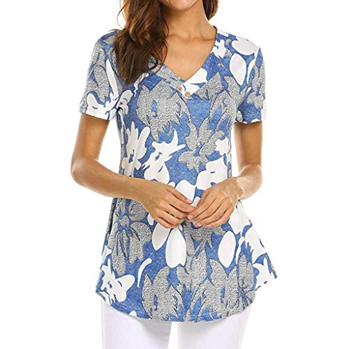 Sunhusing Women's Small Floral Print V-Neck Button Frilled Hem Short Sleeve T-Shirt Top Blue