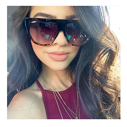 VIVIENFANG Large Oversized Flat Top Teardrop Frame Aviator Sunglasses P1835B Black and Demi