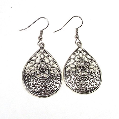 - Antique Silver Tone Open Filigree Scroll Flower Daisy Earrings Stainless Steel Fishhook Earwires (Teardrop)