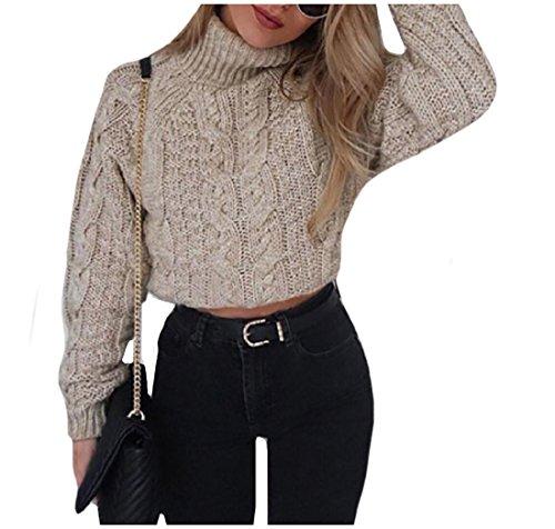 Khaki Tan Crop (Comfy Women's Sweater Long Sleeve Solid Colored Crop Knitwear Shirt Khaki M)