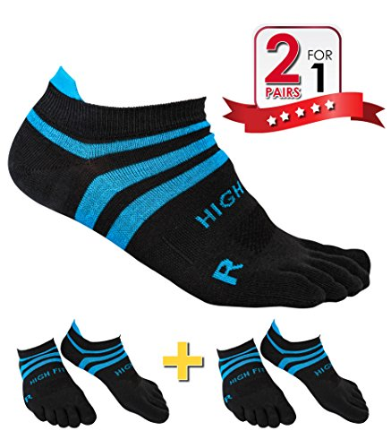 HIGH FIT Pro Lightweight Toe Socks No Show Design, Perfect for Running, for Men & Women (2 Pairs) (Gray & Blue, L)