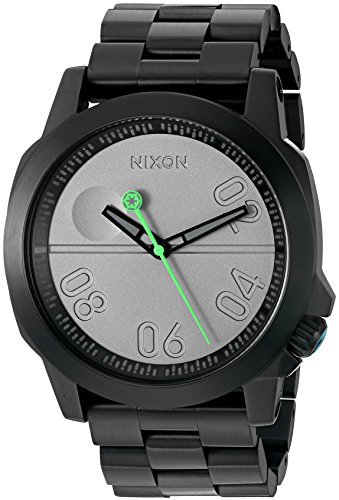 Nixon Men's 'Ranger 45 SW, Death Star' Quartz Stainless Steel Casual Watch, Color:Black (Model: A521SW-2383-00)