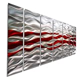 Modern Silver & Red Abstract Multi-Panel Metal Wall Art - Caliente by Jon Allen