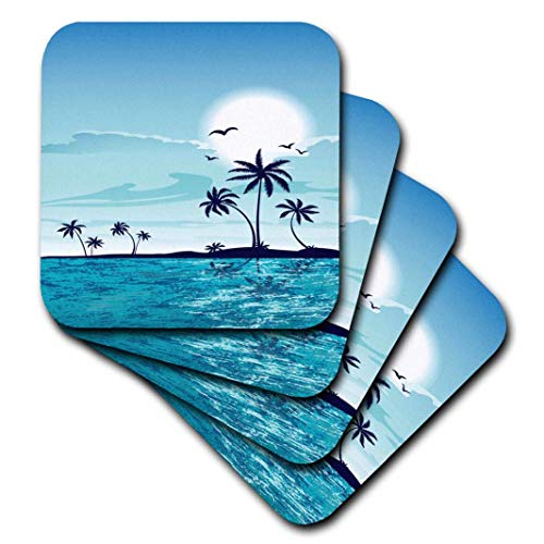 Palm Ceramic Tree Tile - 3D Rose A Pretty Tranquil Sea Side with Palm Trees All in Blue Ceramic Tile Coasters Multicolor