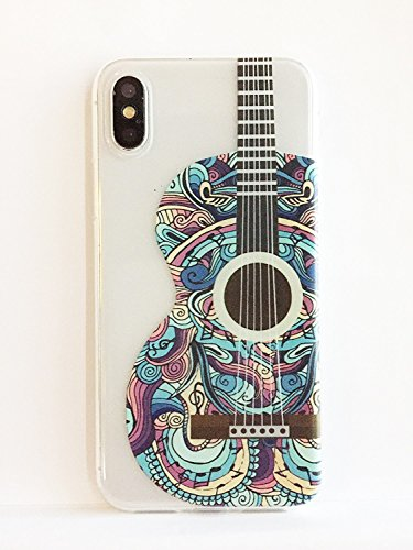 Guitar Basic Only Instruction Book (iPhone X, Colorful Rubber Flexible Silicone Case Bumper Clear Cover Case - Colorful Acoustic Guitar)