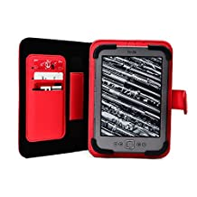Cooper Cases(TM) Embrace Sony PRS-T2 Reader E-Reader Tablet Portfolio Case in Red (Universal Compatible Design; Scratch/Water-resistant Pleather Cover; Built-in Hand Strap; Multiple Card Slots; Integrated Viewing Stand; Hassle-free Magnetic Cover Strap Lock)