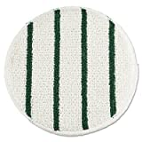 "Rubbermaid Commercial RCP P269 Low Profile Scrub-Strip Carpet Bonnet, 19"" Diameter, 5 Pads per Pack, White/Green (Pack of 5)"