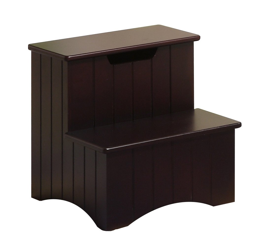 Kings Brand Dark Cherry Finish Wood Bedroom Step Stool With Storage  sc 1 st  eBay & Kings Brand Dark Cherry Finish Wood Bedroom Step Stool With ... islam-shia.org