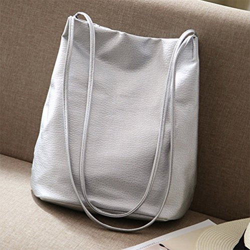 Bags Silver Bucket Tote Purse Handbags Womens Bags Shoulder Leather Hobo qn8zf1FWqr