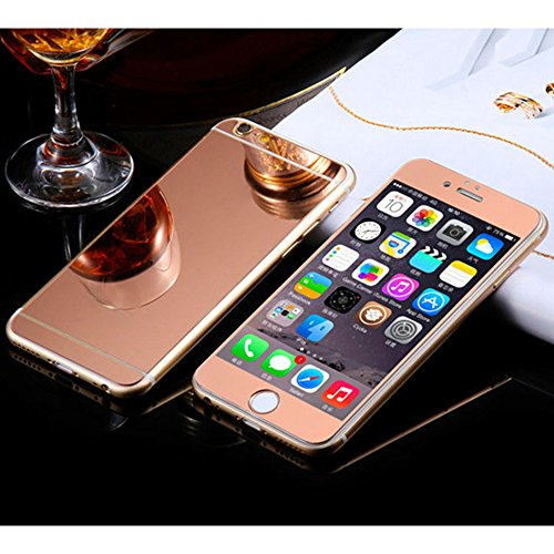 Front+Back Mirror Effect [Full Coverage] Tempered Glass Screen Protector for Apple iPhone 6 Plus/6S Plus 5.5 inch - fengus Premium 9H Anti Scratch Edge to Edge Protection Protector Film -Rose - Cheap Glasses Uk