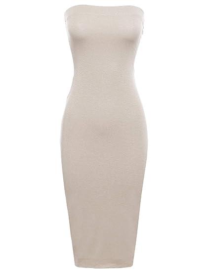 27629ff39bbf Women s Sexy Comfortable Tube Top Body-Con Midi Dress in at Amazon ...