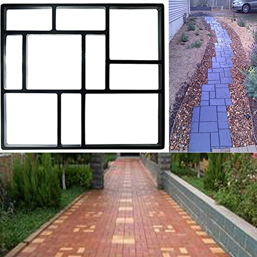 INDRESSME DIY Pavement mold Sturdy Walk Maker Pathmate Paving Cement Brick Mould for Garden Lawn Road, 17.7 × 15.7 x1.6 Inches (Brick Patios For Designs)