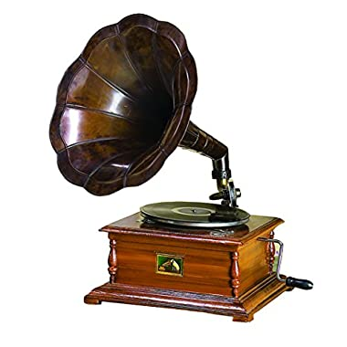 Benzara Wood and Metal Gramophone