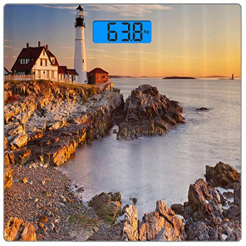 (Precision Digital Body Weight Scale United States Ultra Slim Tempered Glass Bathroom Scale Accurate Weight Measurements,Cape Elizabeth Maine River Portland Lighthouse Sunrise USA Coast Scenery,Multico)