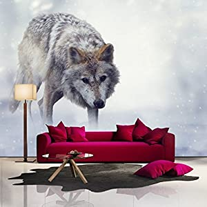 Grey Wolf In Snow Hunts Winter Animal Wall Mural Nature Photo Wallpaper Available 8 Sizes Small Digital