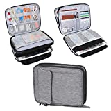 Damero 2 Layer Electronics Organizer Bag, Universal Electronic Accessories Travel Case Storage for USB Cable, Flash Driver, Phone and More, Dark Gray