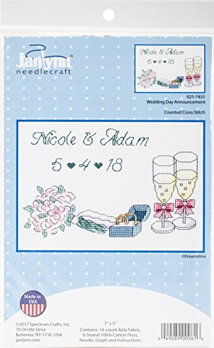 Janlynn Wedding Day Announcement Cross Stitch Supplies