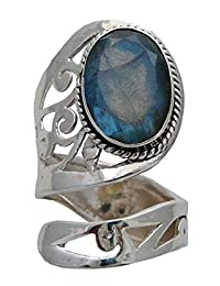 Adjustable Faceted Healing Crystal Stone RING Sterling Silver (Labradorite)