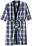 Vintage by Majestic International Men's Big-Tall Mad 4 Plaid Kimono Robe, Blue, 3X/4X