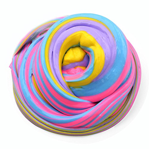 Fluffy Slime- 7oz Jumbo Mixing Floam Slime Colorful Squishy Putty Scented Clay Toy for Kids, Super Soft & Non-Sticky, 4 Colors (Pink, Yellow, Light Blue & Purple)