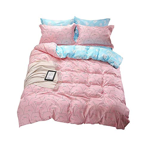 Ludan 3 Pieces Pig Kids Bedding Duvet Cover Set Reversible Twin Full Queen King Teen Bedding Collections Set For Boys Girls Zipper Closure,Gifts for Friends (Pig, Twin) by Ludan