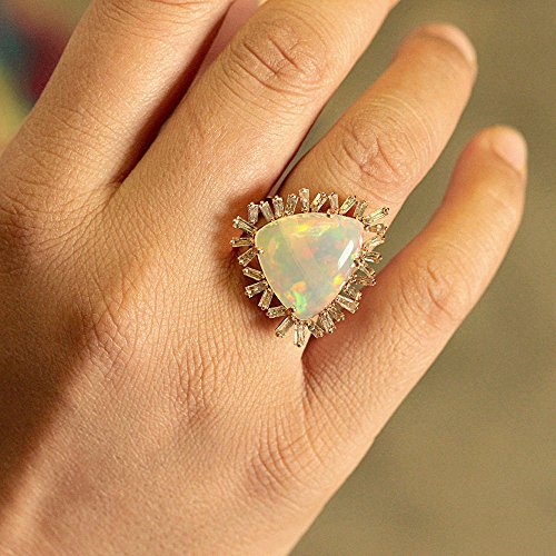 (Trillion Opal Gemstone Solid 18k Rose Gold Cocktail Ring Pave Baguette Diamond Vintage Style Jewelry)