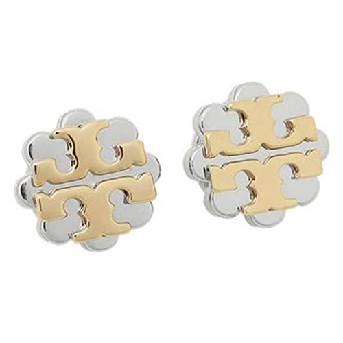 4b571cfca Tory Burch Logo Flower Two-Tone Stud Earrings, Gold/Silver: Amazon.ca:  Jewelry