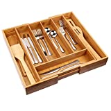 Cutlery Tray with 7 Compartments Flatware Organizer Used for Drawer Organizer and Divider,Perfect Bamboo Holder for Utensils,Flatware,Silverware by Artmeer