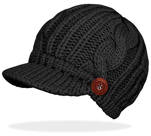 Schirmmütze Damen Mütze Strickmütze warme Wintermütze mit Holzknopf in 4 Farben - A080 (A080-Schwarz)
