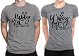 Hubby est Wifey est Wedding Date Couple Matching T-shirt Honeymoon valentines day Men Large / Women Large | Deep Heather - Deep Heather