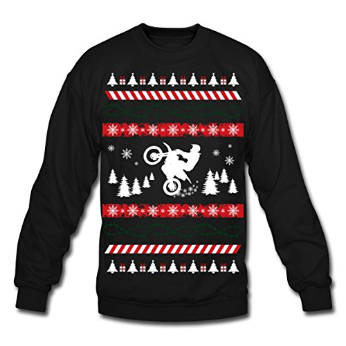 (Spreadshirt Motocross Ugly Christmas Sweater Crewneck Sweatshirt, 2XL, Black)