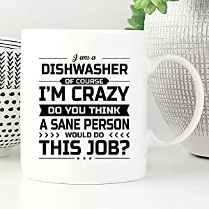 Dishwasher Mug - I'm Crazy Do You Think A Sane Person Would Do This Job - Funny Novelty Ceramic Coffee & Tea Cup Cool Gifts for Men or Women with Gift Box