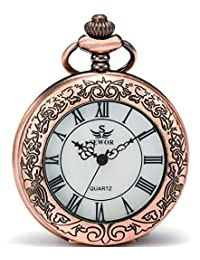 SEWOR Quartz Pocket Watch Shell Dial Magnifier Case With Two Type Chain (Leather+Metal) (Red Copper)