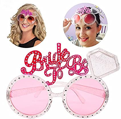 1e511994246 URToys 5Pcs New Bachelorette Hen Party Supplies Bride To Be Glasses Pink  Bling Diamond Ring for