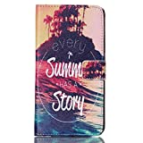 Galaxy S5 Case, Firefish Folio Flip Premium PU Leather Lovely Wallet Shell [Scratch-resistant][Kickstand][Card Holder] for Samsung Galaxy S5+ One Stylus-Summer