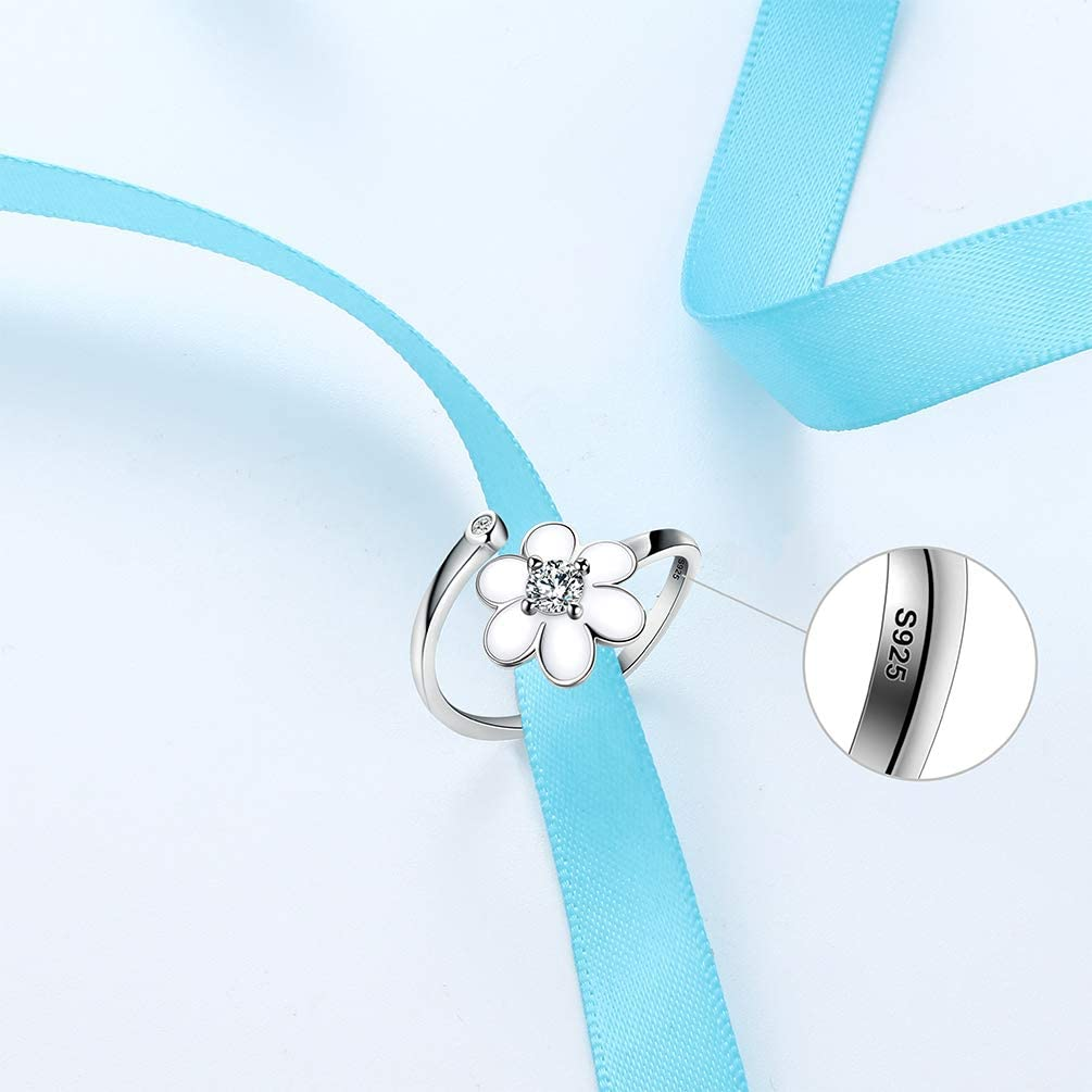 White Enamel Flower Adjustable Ring Women 925 Sterling Silver Darling Daisy Hawaiian Flower Tender Ring Girlfriend Wife Birthday Anniversay Gift FR0001W