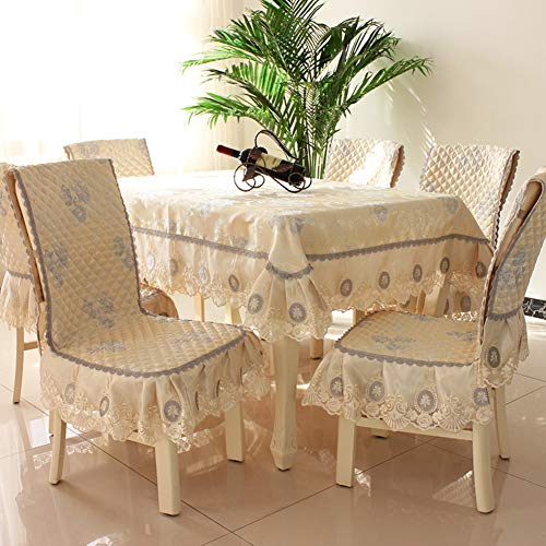 (Pastoral European Style Creative Classical Personality Coffee Tablecloth Fabric Dining Chair Set Cushion Cover Piece Home-A Diameter:180cm(71inch))