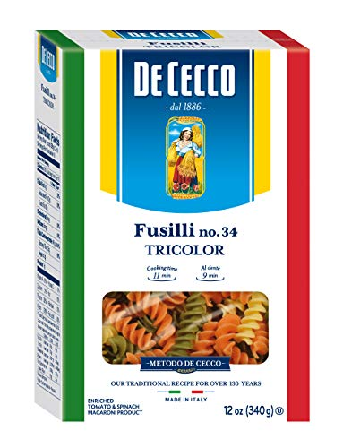 (De Cecco Tri-Color Pasta, Fusilli No.34, 12 Ounce (Pack of 12))