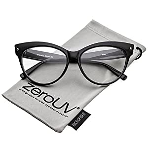 zeroUV - Women's Oversize Wide Arms Clear Lens Cat Eye Eyeglasses 58mm (Black / Clear)