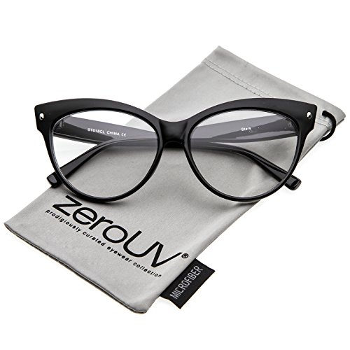 zeroUV - Women's Oversize Wide Arms Clear Lens Cat Eye Eyeglasses 58mm (Black / - Glasses For Eyes Big Best