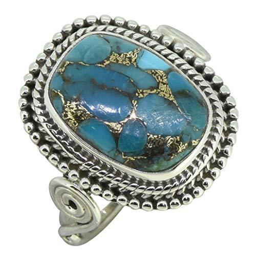 YoTreasure Turquoise 925 Sterling Silver Designer Split Shank Ring