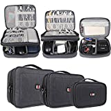 BUBM 3pcs Electronic Travel Organizer, Gear Carry Bag for Cables, Cord, USB Flash Drive, Battery and More, Compact and Multi-purpose,Black