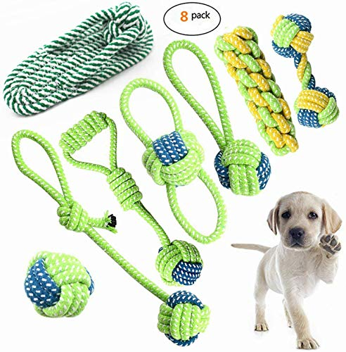 Petony Dog Toys, Interactive Chewing Rope Ball Toys Set for Small Puppies and Medium Dogs Pack of 8,with a Cute Pet Slipper