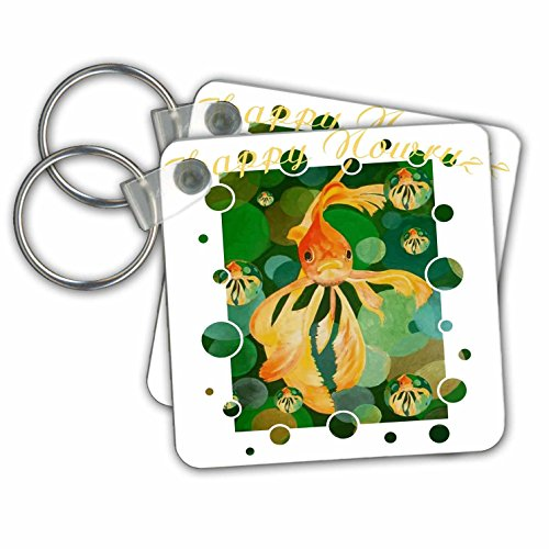Taiche   Greeting Card   Happy Nowruz   Happy Nowruz Persian New Year Goldfish In Green Sea   Key Chains   Set Of 2 Key Chains  Kc 275640 1