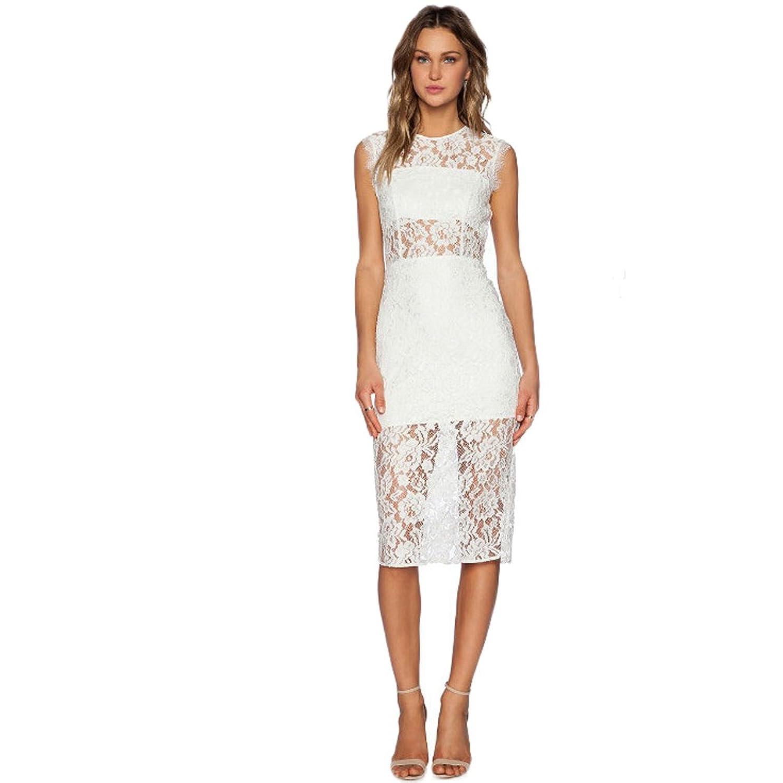 WintCO Damen Tailliertes Spitzenkleid Rundausschnitt ärmelloses Abendkleid Etuikleid mit Spitze Sexy Sommerkleid