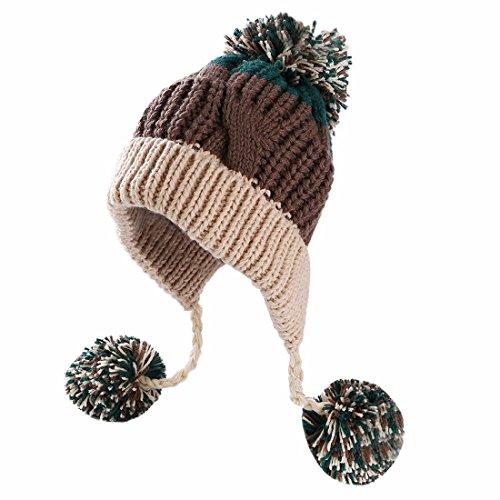 Acrylic Peruvian Hat - HUAMULAN Women Winter Peruvian Thick Beanie Hat Ski Ear Flaps Caps Dual Layered Fleece Lined Pompoms