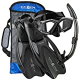 Aqua Lung Sport Adult Cozumel Mask Snorkel Fins Set With Gear Bag